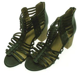 NY & CO BLACK CAGE BLOCK HEEL SANDALS NEW SIZE 6